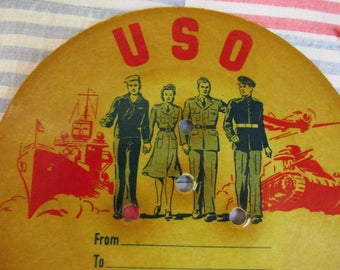 Vintage USO Records/World War II Soldiers/Rainbo Records Los Angeles/National Catholic Services/Military Collectible/Patriotic Decor