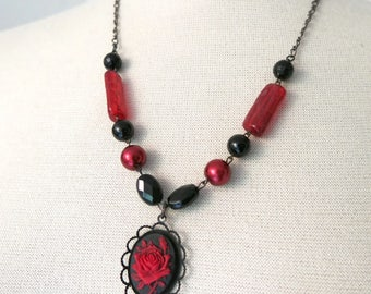 Red rose - Necklace Repurposed Recycled