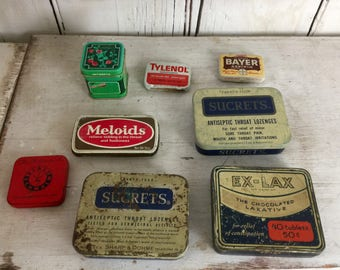Lot of small tins eight advertising tins lot of 8