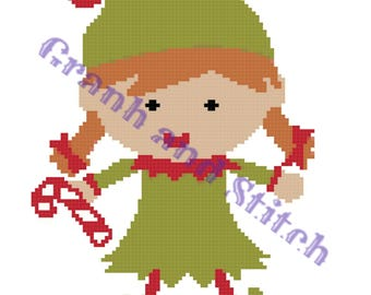 Christmas Elf (Girl) - 100 x 100 - graph and written pattern