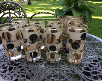 Set of Eight 8 Mid Century Modern  12 ounce Cocktail Beverage Glasses with Caddy Ice Tea Highball Patio Party Frosted Black Gold Coins MCM