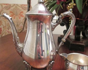 50% OFF, Summer SALE Vintage Leonard Silverplate Tea Pitcher and Creamer