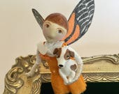 Reserved for Jill , fairy art doll , one of a kind clay cloth and wire figure