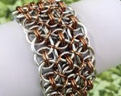 Silver and Bronze Anodized Aluminum Wide Conundrum Chainmaille Anklet