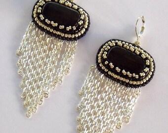 Summer sale -15% Chained Earrings, Gemstone Earrings, Bead embroidered, Fashionable Jewelry, Classic Colors, Black Jasper Earrings,Black, si