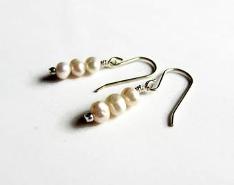 Freshwater Pearl Earrings - Sterling Silver Drop Earrings - Bridal Earrings - Wedding Jewelry - Bridesmaid Gift - June Birthstone