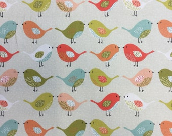 Fryetts Scandi Birds Multi cotton print by the half metre