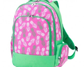 Pineapple Backpack * Monogrammed FREE * / Large Girls Backpack / Personalized Backpack / Back to School Gear / FREE Personalization