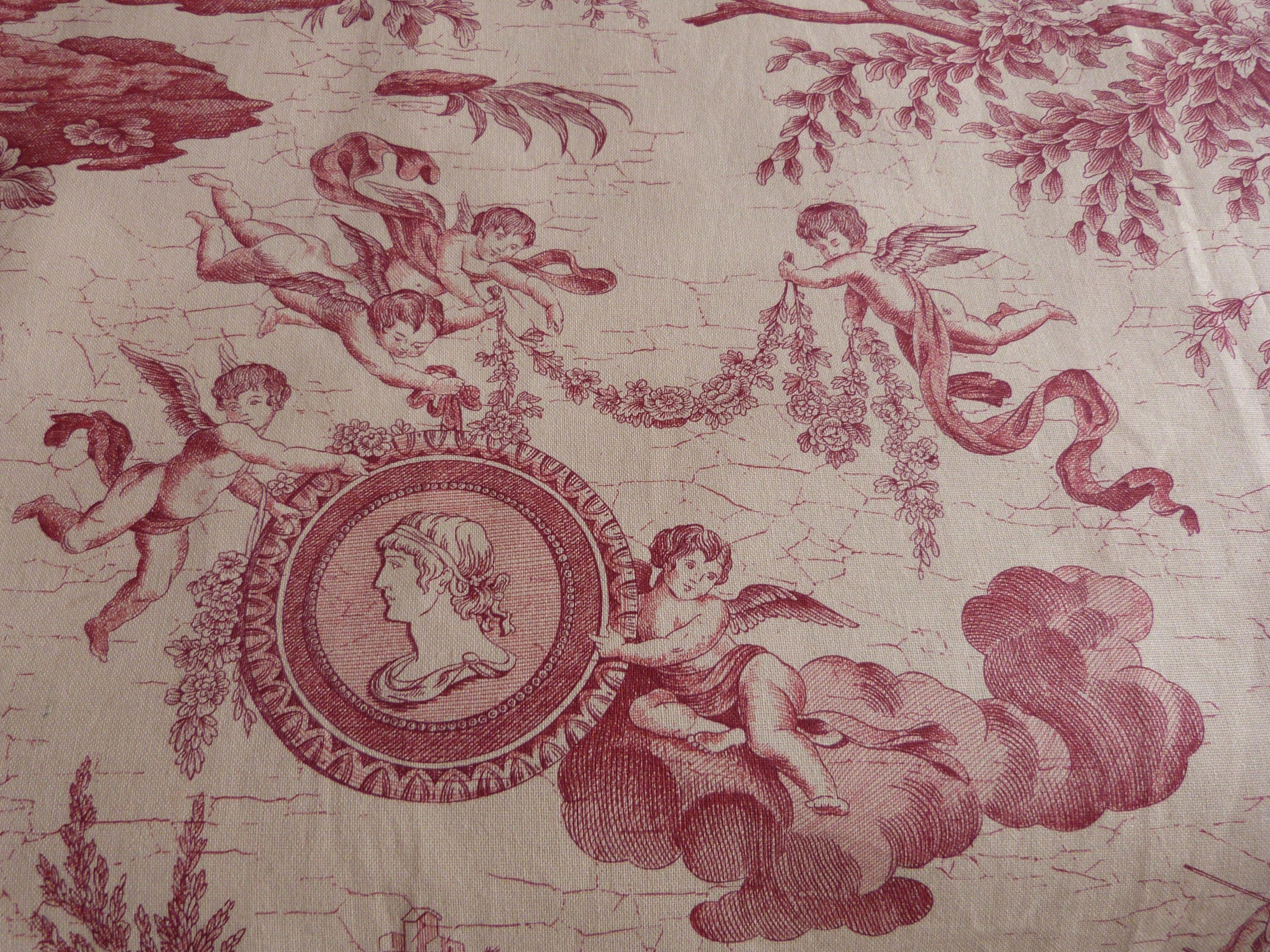 Vintage french toile de jouy fabric red toile fabric w angels for French toile fabric