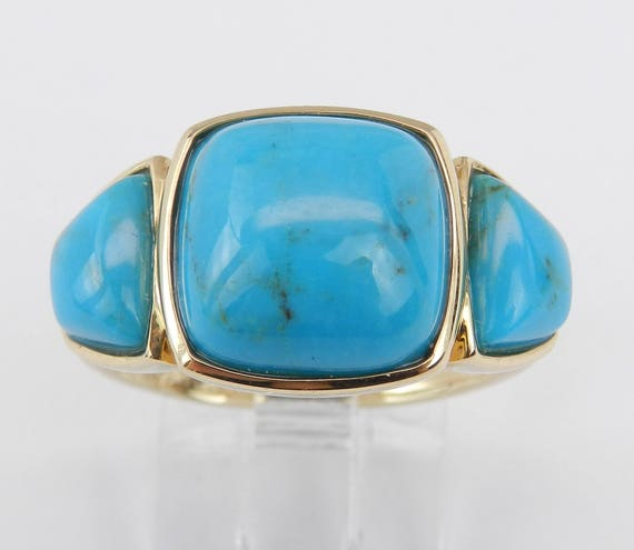 Turquoise Three Stone Anniversary Band Right Hand Ring 14K Yellow Gold Size 8