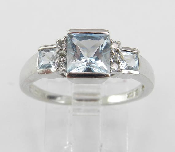 Three Stone Diamond and Aquamarine Engagement Ring Aqua White Gold Size 7.25