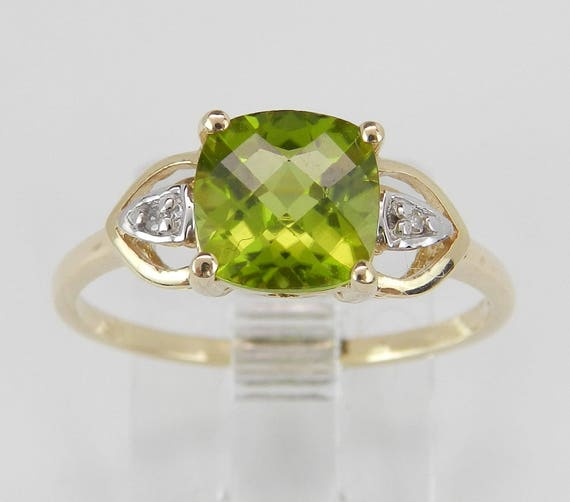 Peridot and Diamond Engagement Ring Yellow Gold Size 7 August Gem