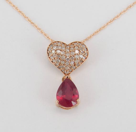 """Diamond Heart Cluster and Ruby Necklace Pendant 14K Rose Gold 18"""" Chain July Gem"""