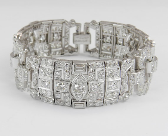 Antique Art Deco PLATINUM 16.28 ct Old Miner Diamond Tennis Bracelet Circa 1920s