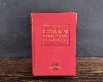 1947 Dictionnaire Francais-Espagnol, D Vicente Salva, Vintage French-Spanish/Spanish-French Dictionary, FREE SHIPPING
