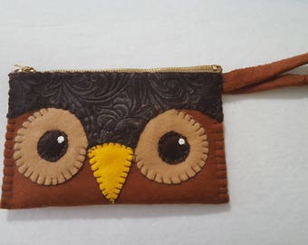 Handstitched Owl Wallet Clutch