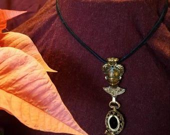 Renaissance inspired vintage metal & mink leather wrap around