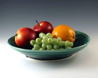 Green Pottery Serving Bowl, Ceramic Serving Dish, Pottery Bowl, Green Bowl,Ceramic Bowl, Ceramics and Pottery, Fruit Bowl, Salad Bowl - B116
