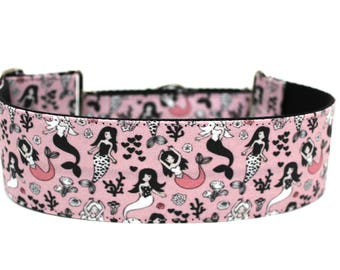 "Mermaid Dog Collar 2"" wide Martingale Dog Collar for Large Breed Dogs Mermaids Dog Collar"
