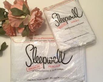 Percale Sheet Set Eyelet Pillowcase White Vintage Irregular SleepWell Percale 50/50 Standard Pillowcases & White Flat Double Sheet