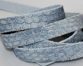 7-10mm  Light Blue  Leather Strap, MetallicSnakeskin Embossed Genuine Leather , Blue and Gray Exotic Print Leather