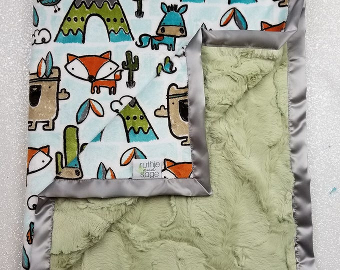 READY TO SHIP Minky blanket, baby boy blanket, pow wow, teepee, woodland blanket, fox blanket, animal blanket, green and grey, cactus minky