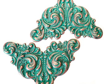 Brass Stamping, 2 Piece, Winged Design, Jewelry Making, Leaf Motif, Aqua Copper, Antique Copper, Bsue, US Made, 2.25 x 3.50 Inches,Item03452