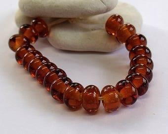 Deep Amber, Lampwork Spacer Beads, SRA, UK