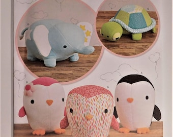"Stuffed menagerie, Elephant, Turtle, Pengiun Cut stuffed animals 7.25"" to 17"" New Simplicity Pattern 8069 Nursery Baby Shower Gift Baby Toy"