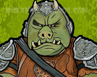 Star Wars Portrait Series: Gamorrean Guard 5x7 Open Edition Signed Print by Jason Selezinka