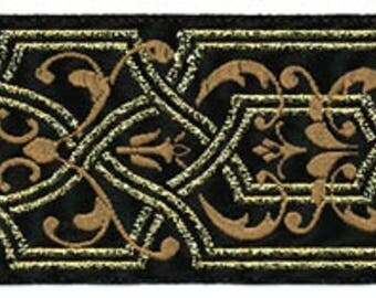 Jacquard Ribbon, 1+1/2 inch wide Black - Cream - Gold selling by the yard