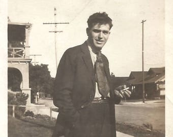 "Vintage Snapshot ""Tragic Hero"" Intense Young Man Smoking Cigarette Found Vernacular Photo"