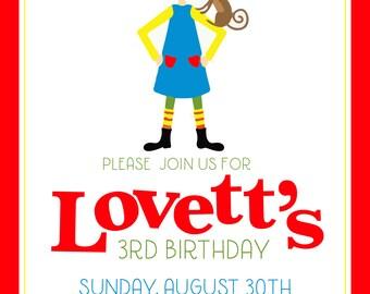 Pippi Longstocking Invitation