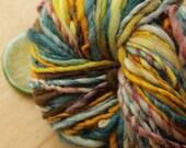 Autumn Scene - Bulky Handspun Wool Yarn Yellow Red Teal