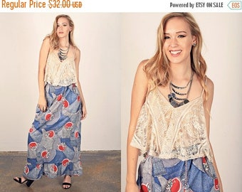 FLASH SALE 70s Apple Skirt Vintage Novelty Print Maxi Long Skirt