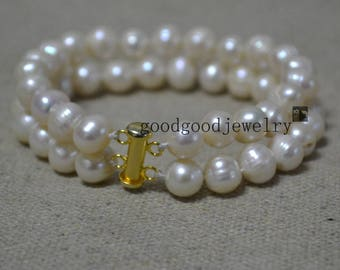 double strand pearl bracelet,2 rows 8-8.5mm Freshwater Pearl Bracelet, ivory pearl bracelet, real pearl bracelet,pearl with gold clasp