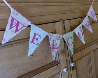 Welcome Banner - Vintage Tea Party Bunting - Pink, Green, Blue, Floral