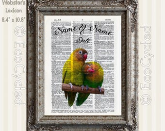 Lovebirds in Love 2 with Names & Date on Vintage Upcycled Dictionary Art Print Book Art Print Anniversary Wedding Custom Tropical Art Print
