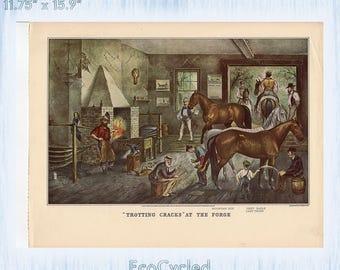Americana Currier & Ives Vintage Lithograph Print Victorian Horse Racing Sleigh Races in Snow at Forge Paper Ephemera Book Page z64-65