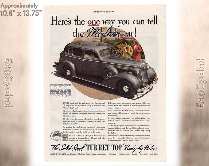 Ladies Home Journal 1935 Car Turret Top ad, old 1930s ad Magazine Advertisements Antique Vintage Paper Ephemera historical art print ad 20