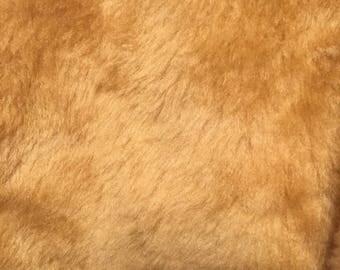 Short pile Soft Gold Brown faux fur