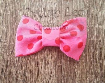 Pink with Pink Polka Dots Hair Bow
