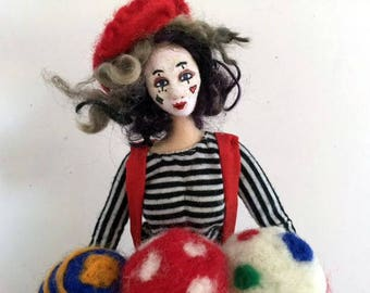 Art doll cloth clown posable soft sculpture French Mime  needle felted juggling balls