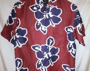 "BIG SUMMER SALE 80s Vintage Aloha Shirt-Hawaiian Big Man Mens Hawaii-Resort Beach Cruise Luau Casual Surfer-Large-44"" Chest-Bass"
