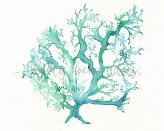Coral print, Beach Art, Coral watercolor, Coral Art, Coral printable, Wall Art, No.1 Sea Coral, watercolor, ocean life