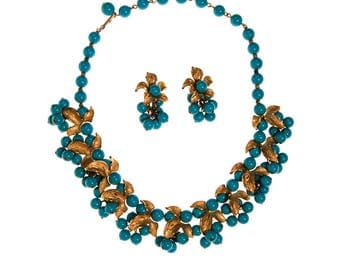 Kramer Turquoise Beads and Gold Leaves Necklace and Earrings Set, Demi Parure, 1950s Era