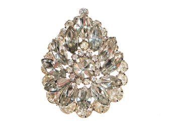 Art Deco Diamante Rhinestone Brooch, Pendant