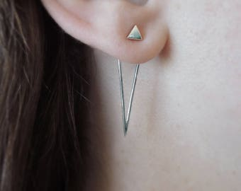 Double Triangle Ear Jackets - Minimal Earrings - Sustainable Sterling Silver