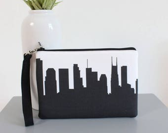 Nashville City Clutch Purse with Wristlet - Skyline Silhouette