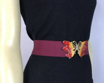 B-DAY SALE Vintage Belt 80s Stretchy Butterfly Buckle Burgundy & Gold Adjustable Band small to medium
